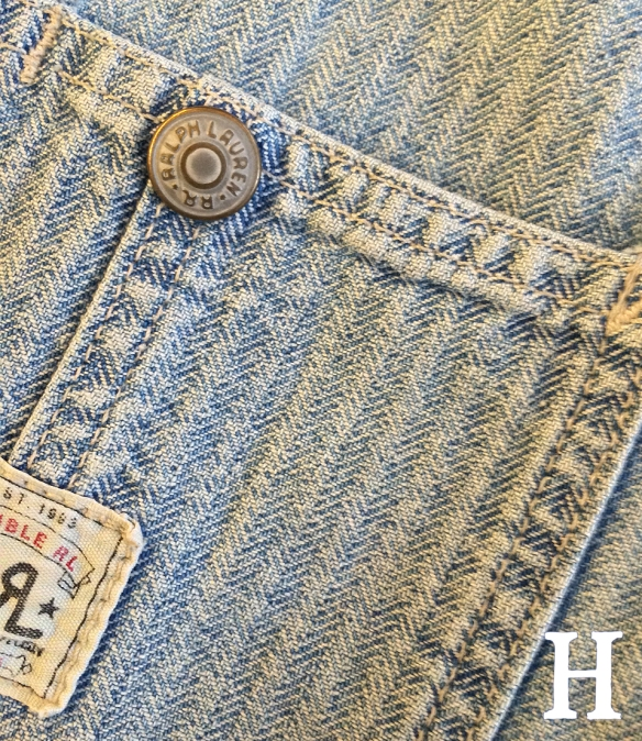 RRL Herringbone Chevron Denim Chore Jacket close
